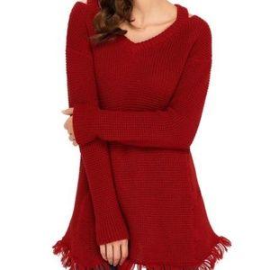 V Neck Waffle Knit Sweater